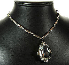 Sterling Paste Drop Pendant Necklace Huge Crystal Stone