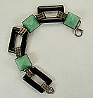 Art Deco Sterling Filigree Onyx, Peking Glass Bracelet