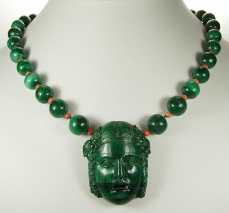 Antique Italian Carved Malachite Coral Figural Necklace