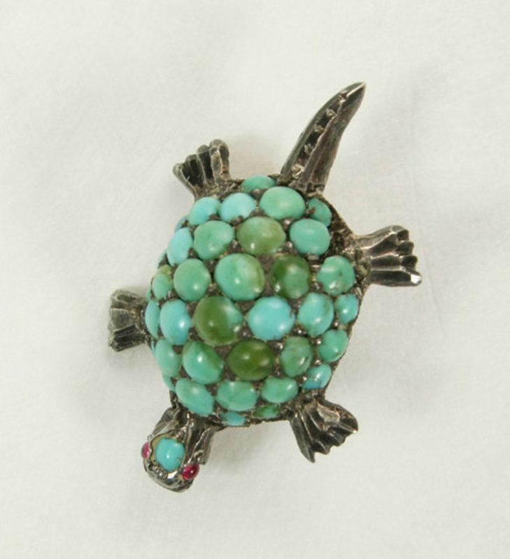 Arts & Crafts Silver Turquoise Red Stones Turtle Brooch