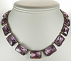 Art Deco Sterling Necklace Huge Purple Glass Stones