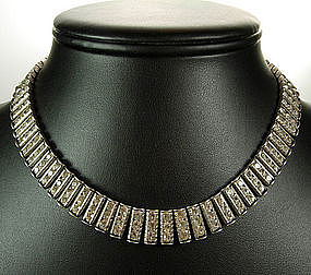 Art Deco Sterling Diamante Articulated Fringed Necklace