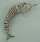 Very Big Diamante Articulated Fish Brooch France