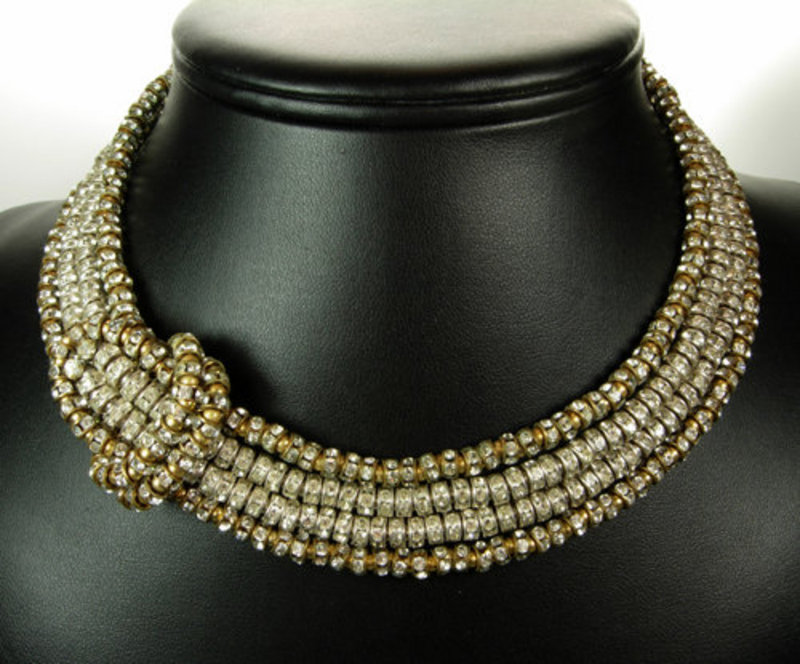 C 1950 4 Strand French Crystal Buckle Motif Necklace