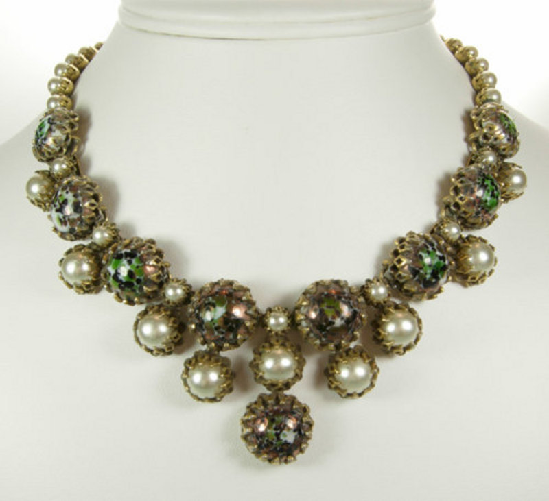 Christian Dior by Kramer Necklace Venetian Glass Stones