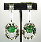 French Chandelier Earrings Strass, Green Gripoix Stones