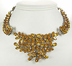 C 1950 French Necklace Topaz Crystal Leaf Branch Motif