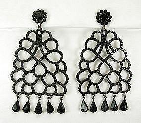 Kenneth Lane KJL 1960s Black Stones Japanned Earrings