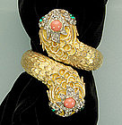 1960s Kenneth Lane KJL 2 Headed Snake Form Bracelet