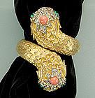 1960s Kenneth Lane KJL 2 Headed Snake Form Bracelet