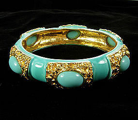 Turquoise Enameled, Glass Orig. by Robert Hinged Bangle