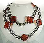 Yves Saint Laurent Chain, Bakelite Quatrefoils Necklace