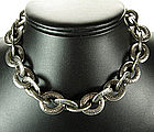 Heavy Oversized Ornate Gunmetal Gray French Necklace