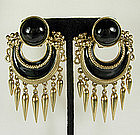 Ugo Correani Italy Etruscan Black Cabs Enamel Earrings