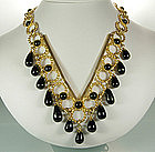 1970s Bijoux Fiaschi Italy Black Glass Bib Necklace