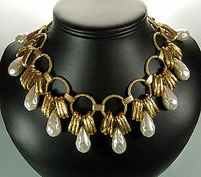 Dramatic 1960s French Glass Faux Pearl Bib Necklace