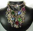 1960s French Necklace Huge Multi Color Crystal Stones