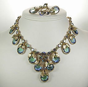 Unsigned Schreiner Necklace Earrngs Aqua Vitrail Stones