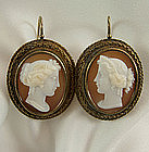 Victorian 14K Neoclassical Shell Cameo Pierced Earrings