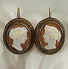 Victorian 14K Neoclassical Shell Cameo Pierced Earrings
