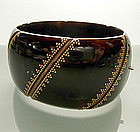 Victorian Gold Mounted Tortoise Shell Hinged Bracelet