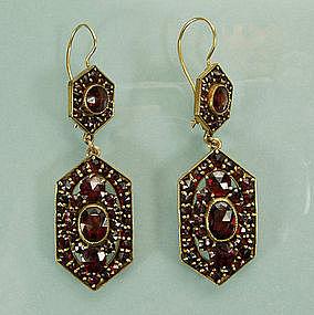 Lacy Antique Victorian Garnet Drop Pierced Earrings