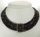 Antique Garnet 5 Strand Beaded Necklace Jeweled Clasp
