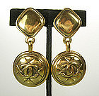 Classic Chanel Large Clip Drop Quilt Pattern Earrings