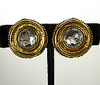 Chanel Byzantine Style Goldtone / Strass Clip Earrings
