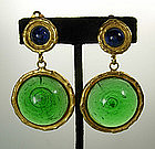 Deanna Hamro Aqua and Green Poured Glass Earrings