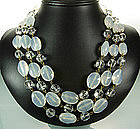 Luminous French Opaline Glass Beaded Draped Necklace