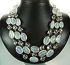 Luminous French Opaline Glass Beaded Draped Necklace
