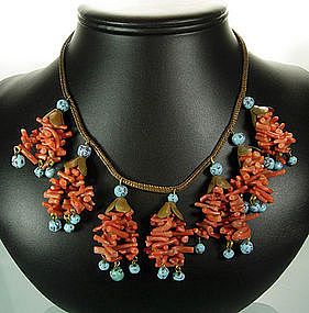 Unsigned Haskell Coral and Glass Necklace Book Piece