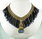 1930s French Bookchain Fob Blue Black Glass Necklace