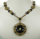 Black Gripoix Glass Filigree Pendant Necklace: France