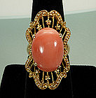 Dramatic 14KT Gold and Pink Coral Large Cocktail Ring