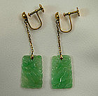 1920s Chinese Art Deco 14KT Gold Apple Jade Earrings
