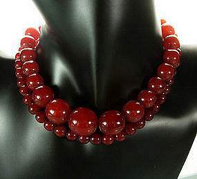 Long Cherry Amber Bakelite Necklace Hidden Barrel Clasp