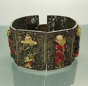 Chinese Silver Filigree Bone Figural 8 Panel Bracelet