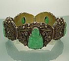 Heavy Chinese Silver Filigree Bracelet: Jade Buddhas