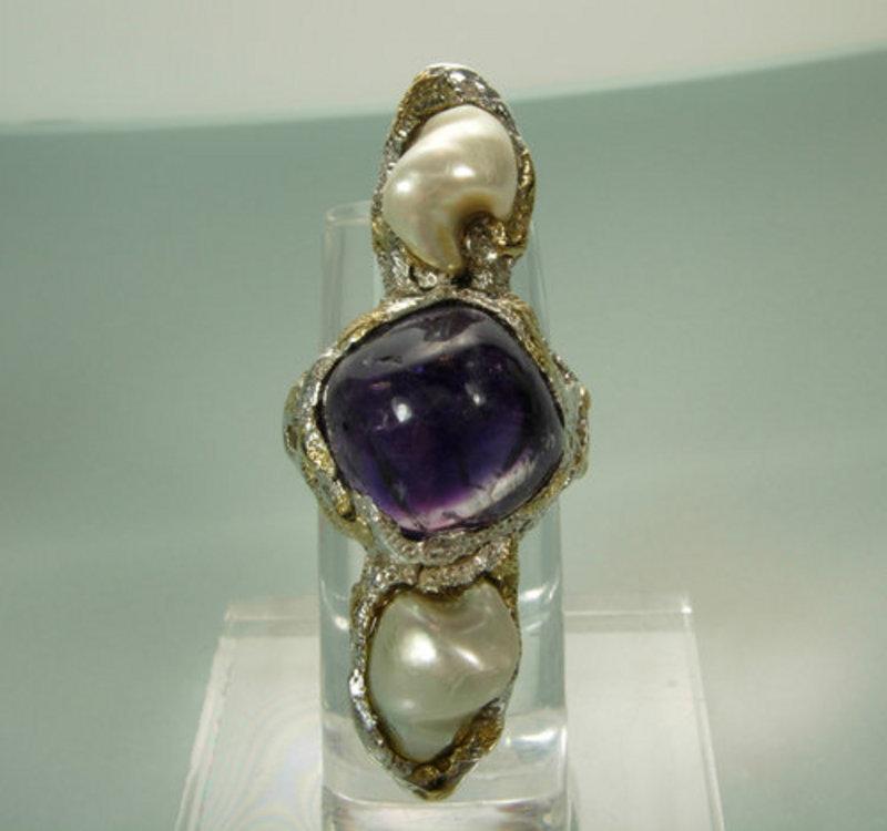 Arts & Crafts Silver Amethyst Pearl Carl Schon Ring