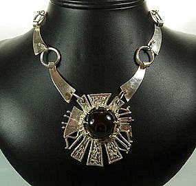 1960s Studio Modernist Sterling Smoky Stone Necklace