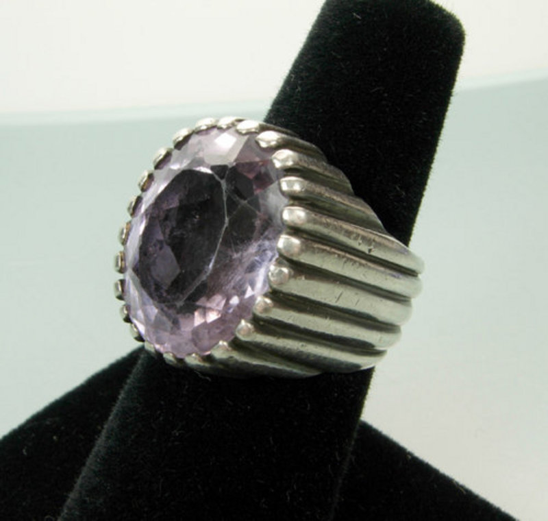 C 1940 European Modernist Silver and Amethyst Ring