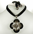 Antonio Pineda Taxco Sterling Onyx Quatrefoil Necklace