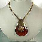 1960s Lanvin Paris Honey Bakelite Pendant Necklace