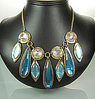 60s Modern Egyptian Bib Necklace: Huge Glass Stones