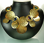 Dramatic 1970s Unsigned Les Bernard Necklace Cab Stones