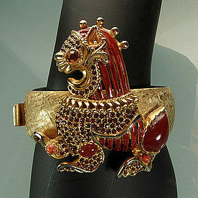 1970s Geoffrey Beene / Kramer Jeweled Bracelet: Foo Dog