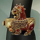 1970s Geoffrey Beene / Kramer Jeweled Bracelet: Foo Dog