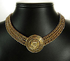 Signed Chanel Double Draped Chains Medallion Necklace